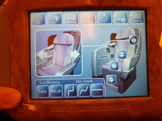 Emirates B777 business class seat recline controls