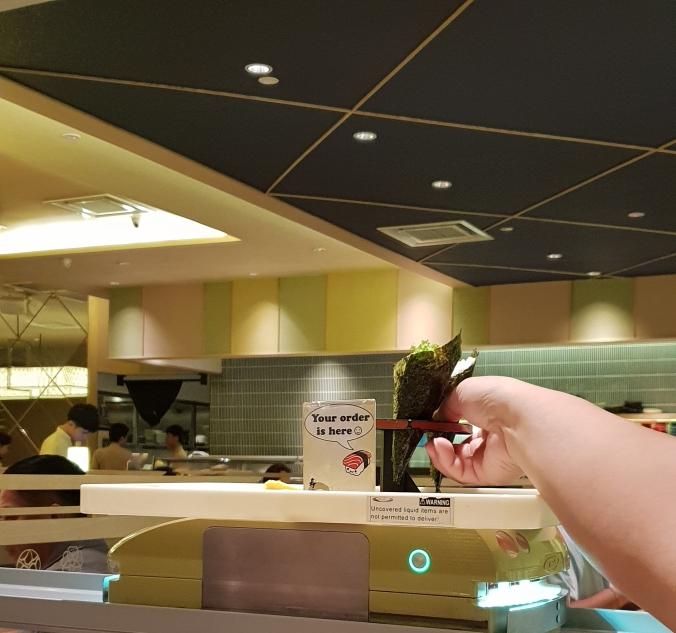 Robot waiter at Sushi Zanmai, Mid Valley Mall, Kuala Lumpur