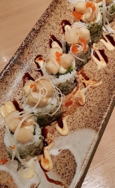 Fried ebi roll topped with tofu at Sushi Zanmai