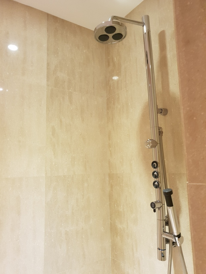 Fancy shower in the Emirates Lounge, KLIA