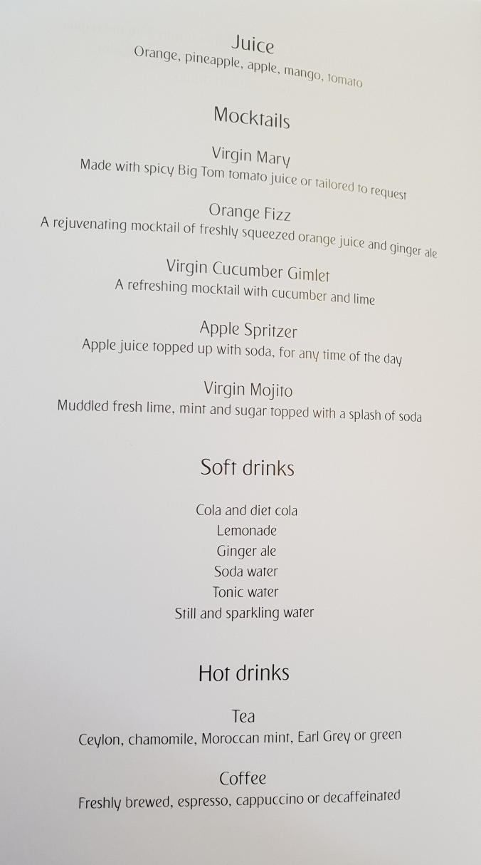 Emirates business class A380  non-alcoholic drinks menu