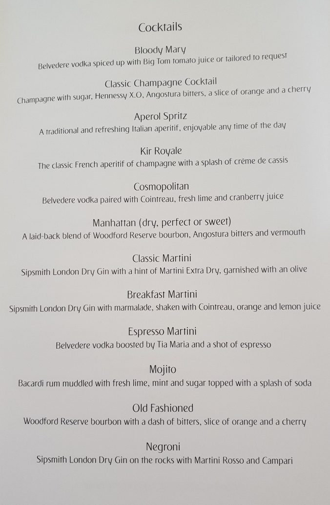 Emirates business class A380  cocktail menu
