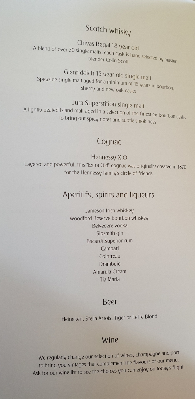 Emirates business class A380  drinks menu
