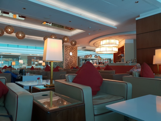 The vast Emirates lounge in Dubai Airport