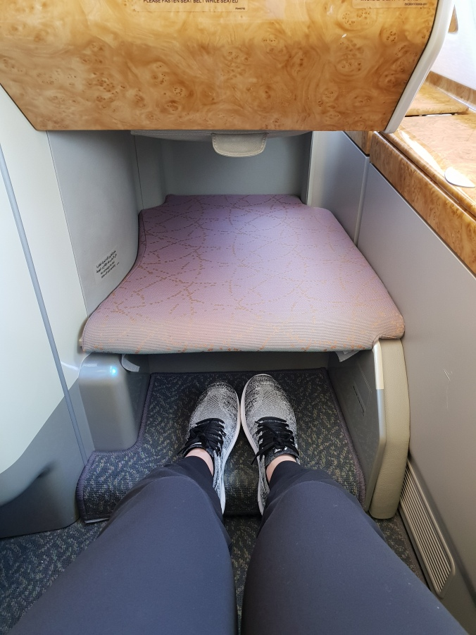 Emirates A380 business class seat leg room
