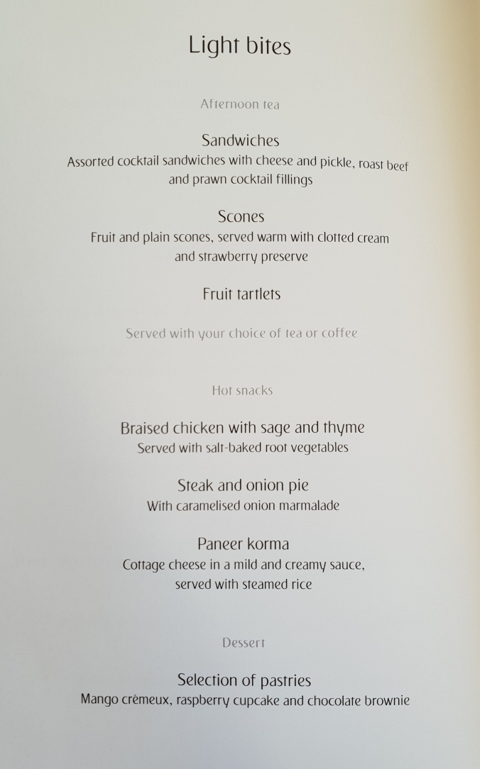 Emirates A380 business class London to Dubai light bites menu