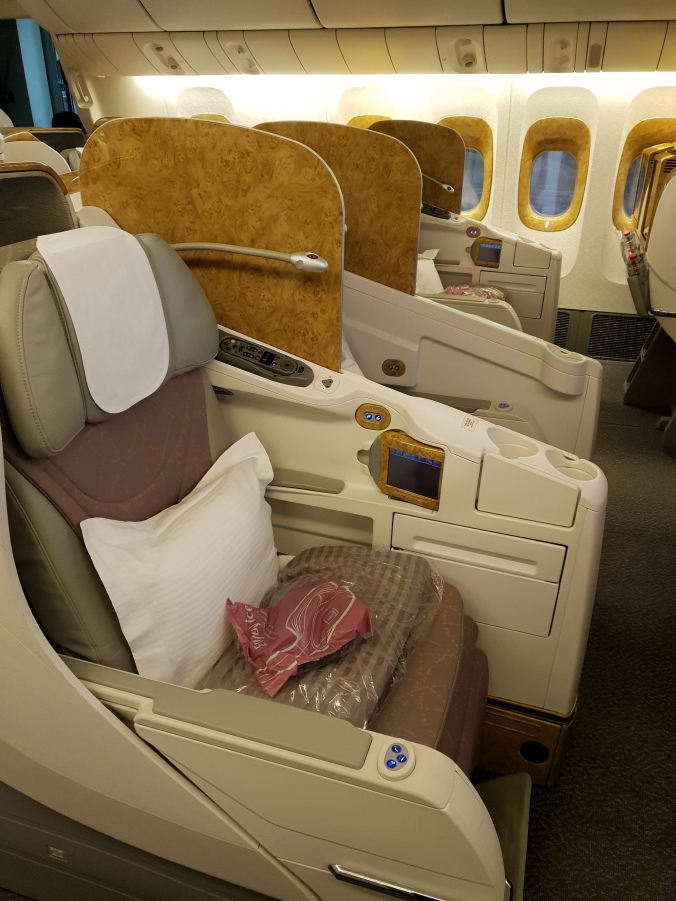 Emirates B777 business class cabin