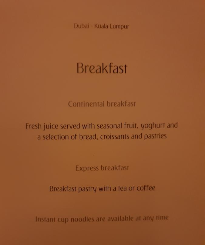 Emirates B777 business class breakfast menu Dubai to Kuala Lumpur