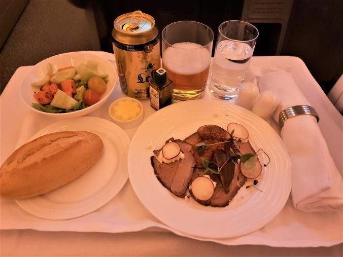 Emirates B777  business class Dubai to Kuala Lumpur roasted beef carpaccio appetiser