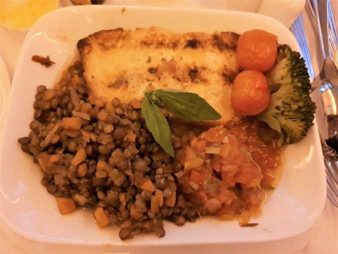 Emirates B777  business class Dubai to Kuala Lumpur roasted  salmon and puy lentils for dinner