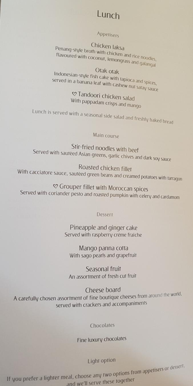 Emirates B777 business class lunch menu Kuala Lumpur to Dubai