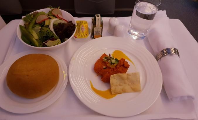 Emirates B777  business class  Kuala Lumpur to Dubai tandoori chicken salad appetiser