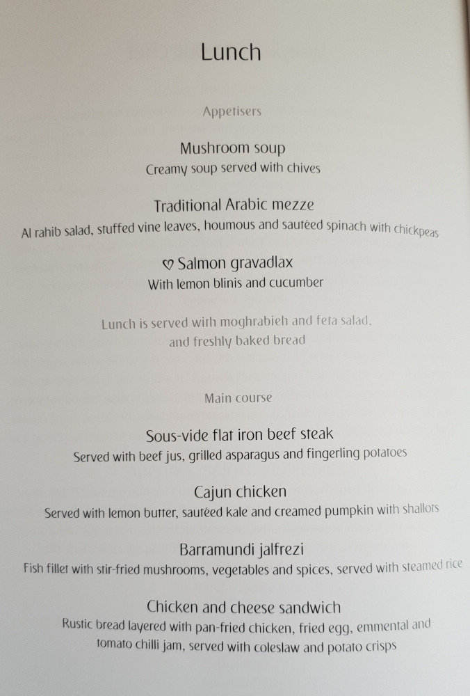 Emirates A380 business class lunch menu Dubai to London