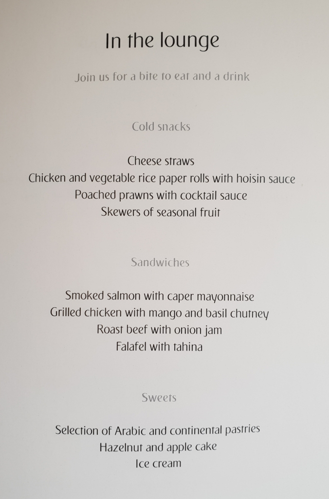 Emirates A380 business class lounge menu Dubai to London