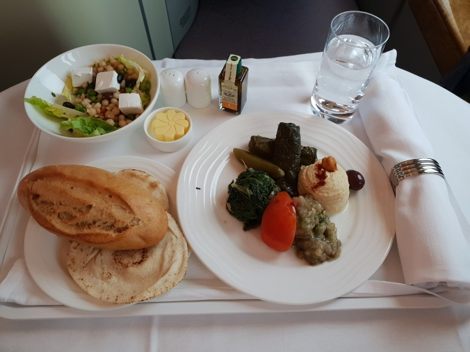 Emirates A380 business class  Dubai to London traditional  mezze appetiser