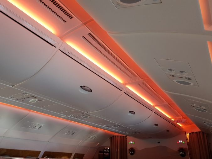 Emirates A380 business class cabin mood lighting