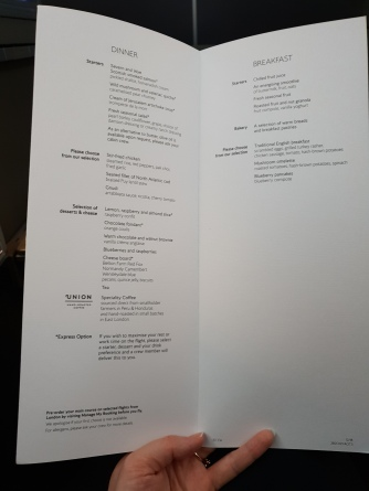 British Airways Club World 787-9 menu