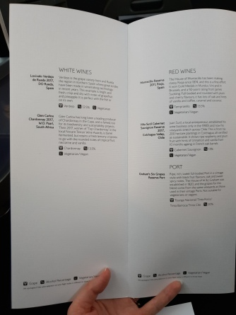 British Airways Club World 787-9 wine list