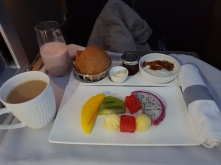 Breakfast - smoothie, yoghurt, fruit, bread and pastries to start