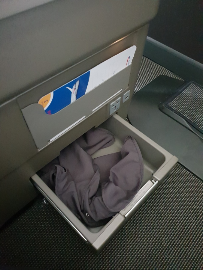 British Airways Club World seat storage