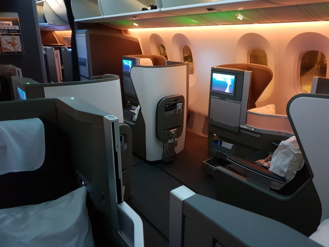 British Airways Club World cabin with nigh time lighting