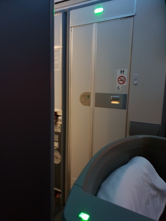 British Airways Club World front cabin - proximity of row 7 to the toilet