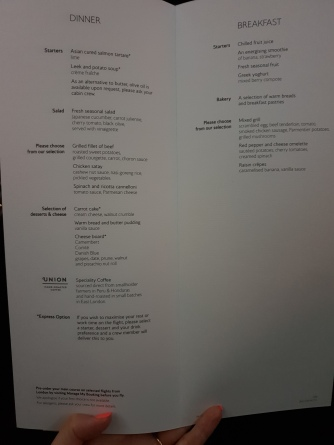 The menu on my inbound flight