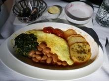 Breakfast - omelette and baked beans