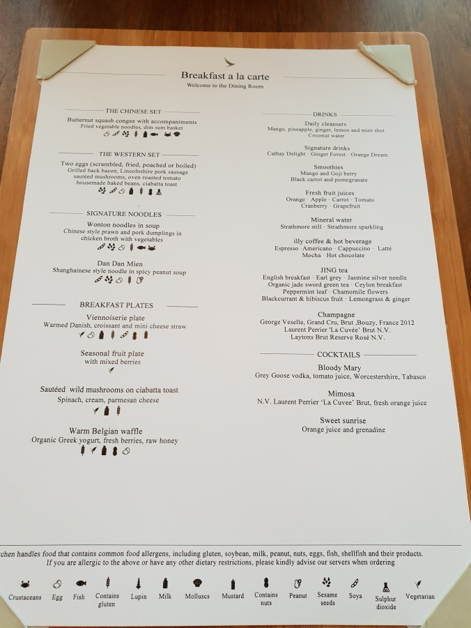Cathay Pacific First Class Lounge menu