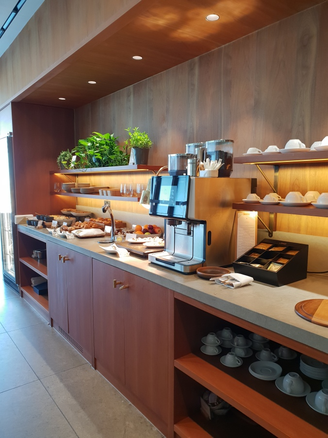Cathay Pacific First Class Lounge buffet selection