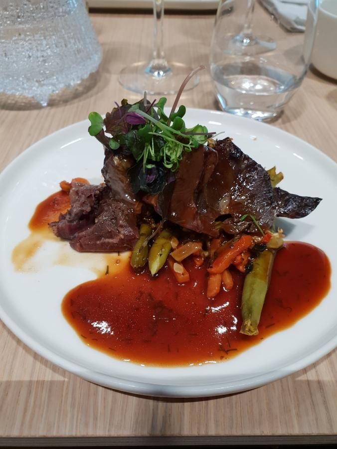 Beef cheek with dill sauce, Finnair First Class Lounge a lar carte menu
