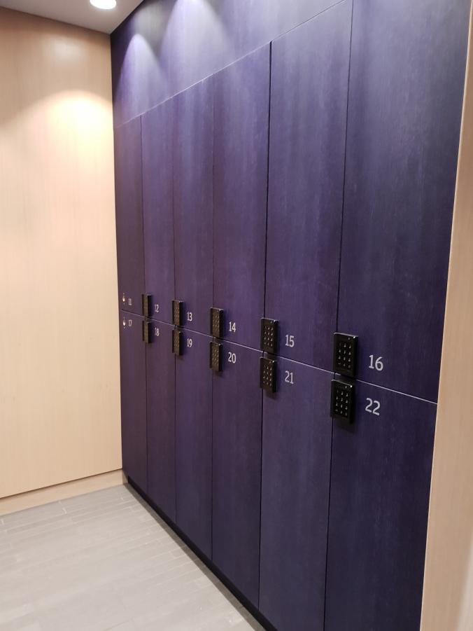 Self service locker storage in Finnair's First Class Lounge, Helsinki Vantaa