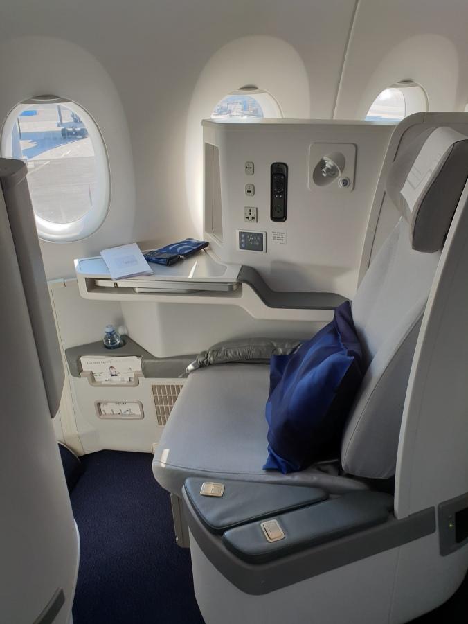 Finnair A350 business class window seat, row L
