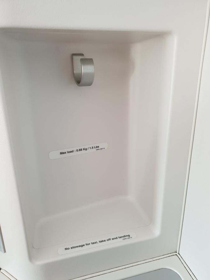 Finnair business class handy storage hook