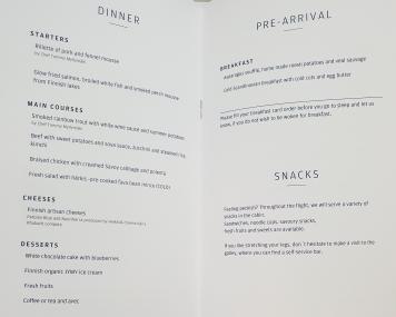 Finnair A350 business class food menu