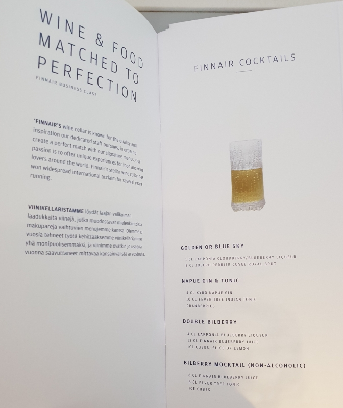 Finnair business class drinks list - cocktails (including the famous golden and blue sky cocktails!)