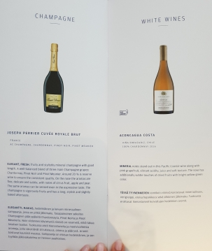Finnair business class drinks list -champagne and white wine