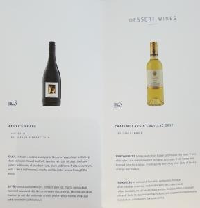 Finnair business class drinks menu