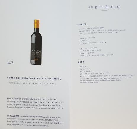 Finnair business class drinks list - spirits, beer and port