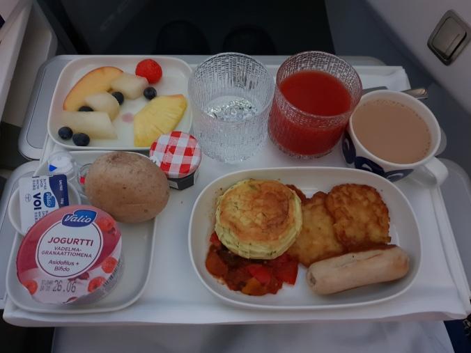 Finnair business class breakfast