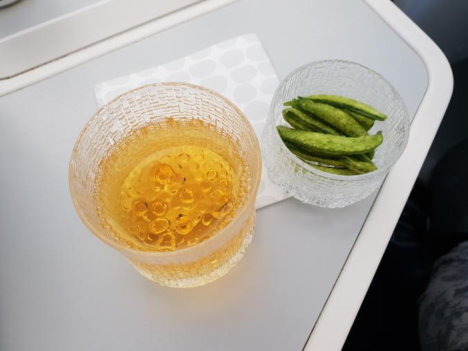 Finnair business class drinks and snacks
