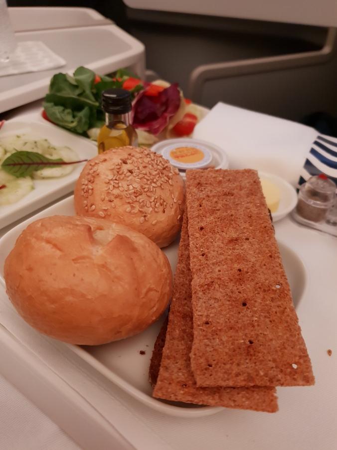 Finnair business class food - breads and salad
