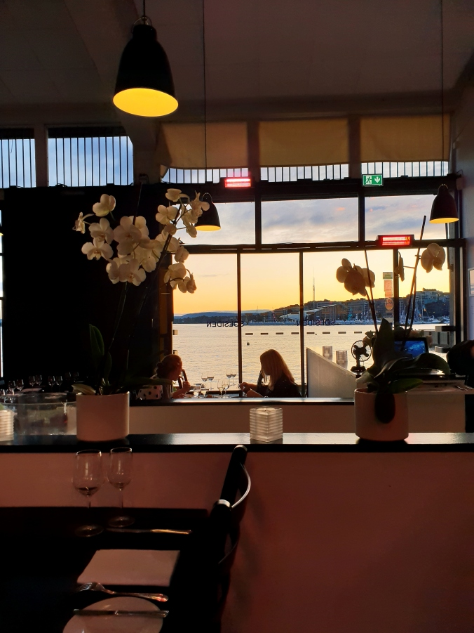 Sunset views from Solsiden Restaurant, Oslo