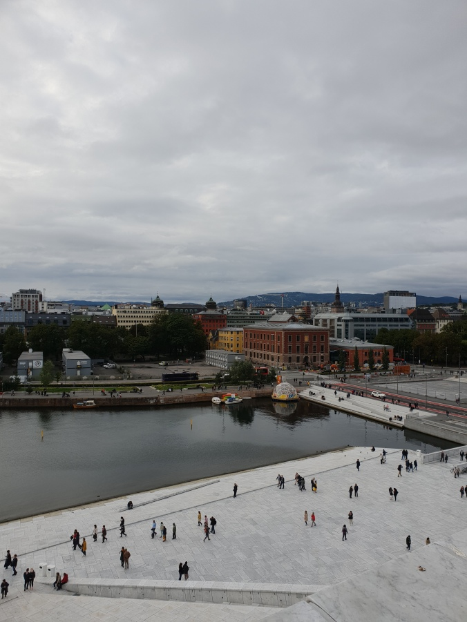 Views over Oslo from the roof of Oslo Opera House