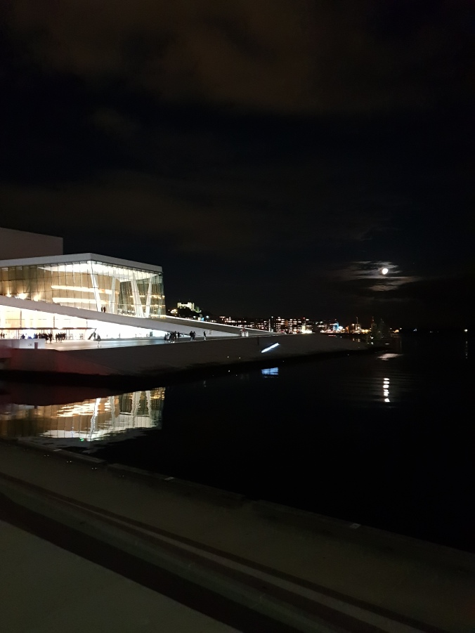 Oslo's Opera House at night
