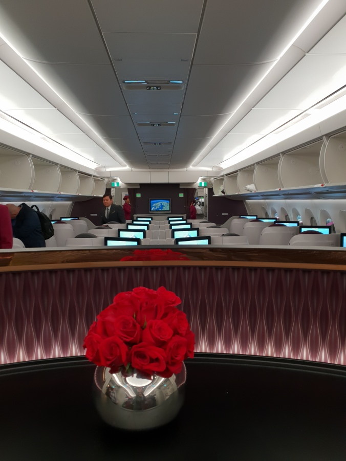 Qatar Airways business class A350 reverse herringbone