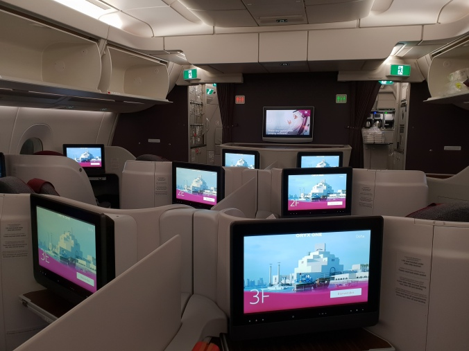 Qatar Airways A350-900 business class reverse herringbone
