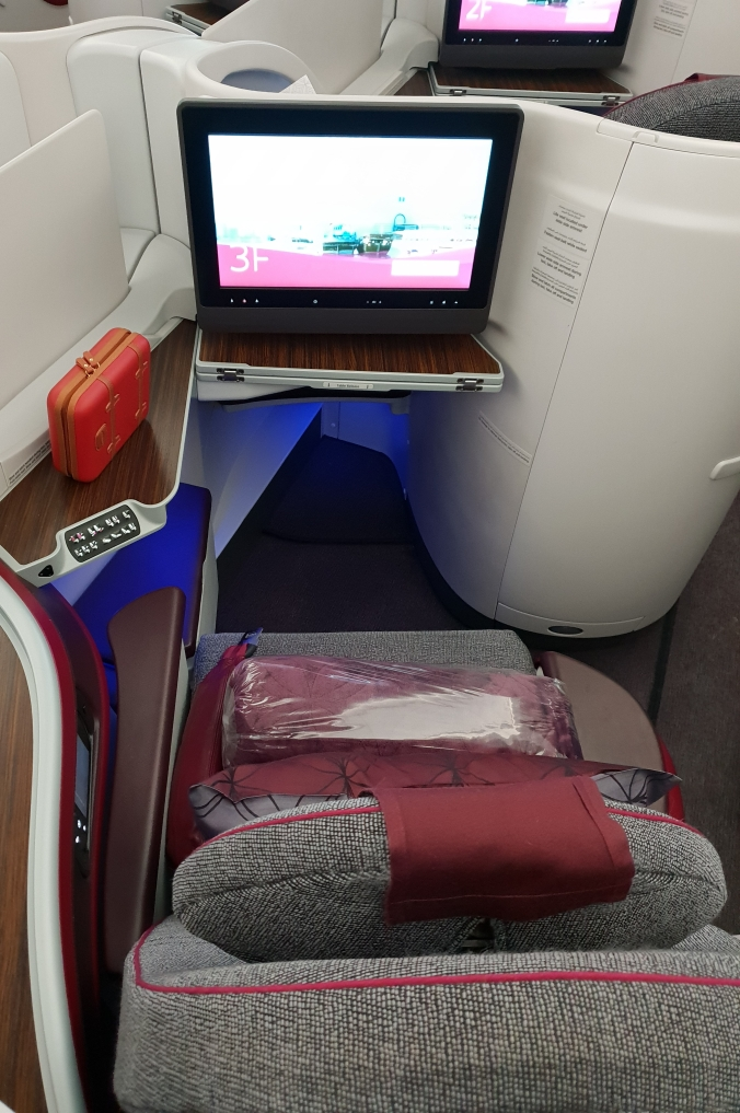 Qatar Airways business class A350 reverse herringbone seat