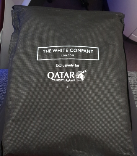 Qatar Airways business class pyjamas and slippers by The White Company