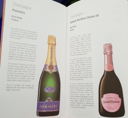 Qatar Airways business class wine list